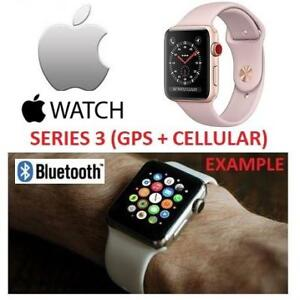 NEW APPLE WATCH SERIES 3 38MM MQJQ2LL/A 177603230 GPS+CELL GOLD ALUMINUM CASE W/ PINK SAND SPORT BAND GPS + CELLULAR