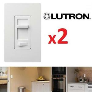 NEW 2 LUTRON DIMMING LIGHT SWITCHES LECL-153PH-WH-C 201830316 LUMEA 150 W CFL LED LIGHTING