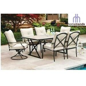 NEW HOMETRENDS 7PC DINING SET - 134468643 - PARKLAWN TILE TOP PATIO TABLE