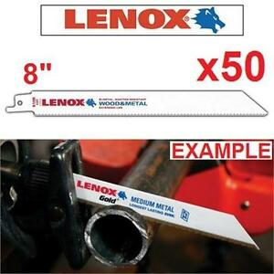 """50 NEW LENOX RECIPROCAL SAW BLADES 8"""" Long x 3/4"""" Wide x 0.050"""" x 10"""" TPI (Pack of 50) - 101325410"""