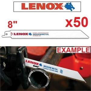 """50 NEW LENOX RECIPROCAL SAW BLADES 8"""" Long x 3/4"""" Wide x 0.050"""" x 10"""" TPI (Pack of 50) - 105886209"""