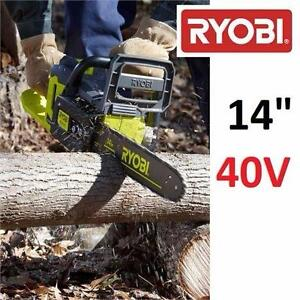 """USED RYOBI 14"""" 40V CRDLESS CHAINSAW CORDLESS BRUSHLESS CHAIN SAW - BARE TOOL OUTDOOR POWER TOOL EQUIPMENT  82560915"""