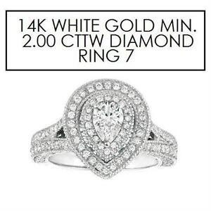 NEW* STAMPED 14K DIAMOND RING 7 JEWELLERY - 14K WHITE GOLD - 2.00 CTTW DIAMOND