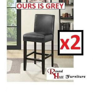 NEW 2 GRAY COUNTER HEIGHT STOOLS PC502GY 199771810 ROUNDHILL FURNITURE CITY LIGHT BARSTOOLS GREY