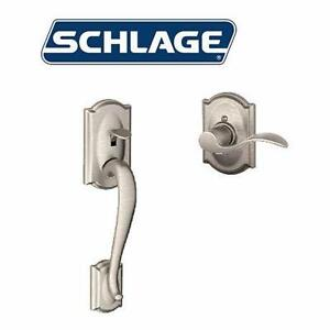 NEW* SCHLAGE FRONT ENTRY HANDLE SET DOOR KNOB LOCK FRONT ENTRY HANDLE SET WITH INTERIOR ACCENT LEVER LEFT 91336692