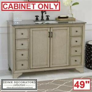 "NEW HAZELTON 49"" VANITY CABINET 8203700270 140863892 HOME DECORATORS COLLECTION ANTIQUE GREY CABINET GREY VANITIES BA..."
