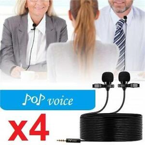 4 NEW  DUAL HEAD MICROPHONE PPV550+ 238378429 POP VOICE LAVALIER PROFESSIONAL LAPEL CLIP ON OMNIDIRECTIONAL CONDENSER...