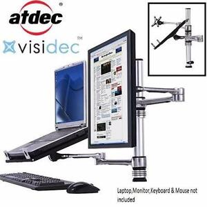 NEW ATDEC MONITOR NOTEBOOK MOUNT VISIDEC LAPTOP ARM MONITOR ARM POLE MOUNT COMBINATION STAND OFFICE ELECTRONICS 91734149