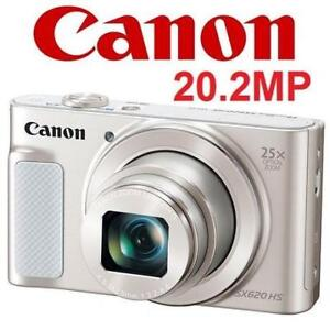 NEW CANON POWERSHOT SX620 CAMERA PSSX620HS(WH) 215196824 SILVER DIGITAL PHOTOGRAPHY 20.2MP 25X OPTICAL ZOOM