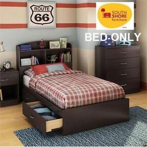 """NEW* SOUTH SHORE LOGIK BED TWIN LOGIK TWIN MATES BED (39"""") WITH 2 DRAWERS 107271230"""