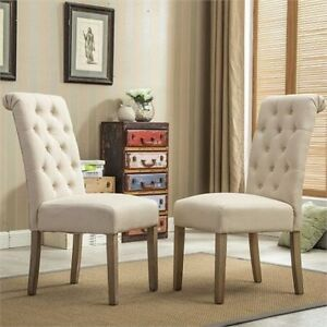 NEW 2 TUFTED PARSONS DINING CHAIRS
