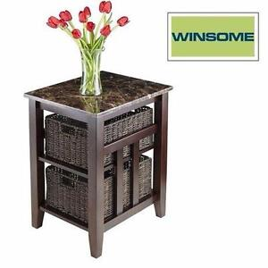 NEW WINSOME SIDE TABLE W/ 2 BASKETS   WOOD - WALNUT FINISH W/ FAUX MARBLE TOP LIVING ROOM STORAGE FURNITURE 98675389