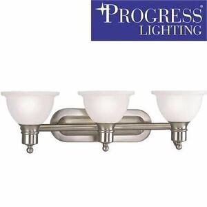 NEW PL 3-LIGHT BATH LIGHT   PROGRESS LIGHTING - MADISON COLLECTION - BRUSHED BATHROOM VANITY DECOR 92354095