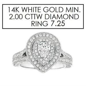 NEW* STAMPED 14K DIAMOND RING 7.25 143897428 JEWELLERY JEWELRY 14K WHITE GOLD 2.00 CTW DIAMOND