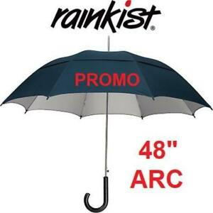 NEW PROMO RANKIST UMBRELLA 21009UV0-51 187095583 VENTED, WOOD CROOK HANDLE, NAVY, UV PROTECTION, 48 INCH ARC