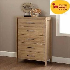 NEW SS 5-DRAWER DRESSER CHEST SOUTH SHORE - RUSTIC OAK - HOME - BEDROOM - FURNITURE - STORAGE  90544722
