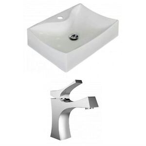Rectangle Vessel Set w/Single Hole CUPC Faucet, White
