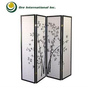 Black Floral 4-panel Screen Room Divider