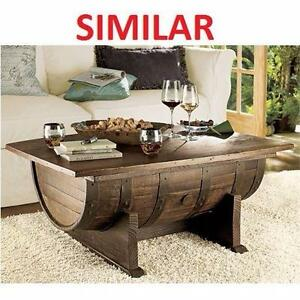 "NEW* WOODEN BARREL COFFEE TABLE 36""x26""x17"" HOME DECOR FURNITURE - WITH STORAGE LIVING ROOM 99680055"