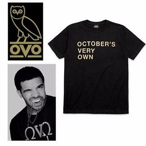 NEW OVO T-SHIRT MEN'S SM   OCTOBER'S VERY OWN - DRAKE - BLACK FASHION URBAN WEAR TOP 97962577