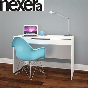 NEW NEXERA AROBAS WHITE DESK   WITH PULL OUT STORAGE SHELF HOME OFFICE FURNITURE STUDENT WORKSTATION 93912683