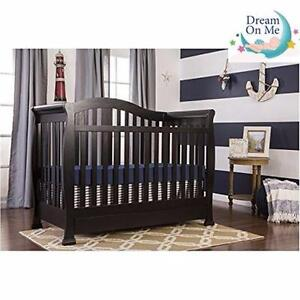 NEW* 5 IN 1 CONVERTIBLE CRIB DREAM ON ME - ADDISON - BLACK FURNITURE BABY INFANT TODDLER CHILD  91421314