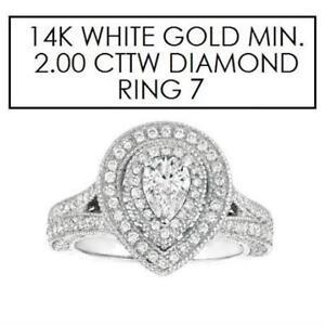 NEW* STAMPED 14K DIAMOND RING 7 195484778 JEWELLERY JEWELRY 14K WHITE GOLD 2.00 CTW DIAMOND