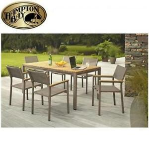 NEW HAMPTON BAY 7PC PATIO SET SET T1840 + C2011 197380254 BARNSDALE TEAK DINING PATIO FURNITURE
