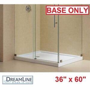 """NEW*DREAMLINE 60"""" x 36"""" SHOWER BASE  SLIMLINE - DOUBLE THRESHOLD WHITE LEFT DRAIN - BATH BATHROOM 91832200"""