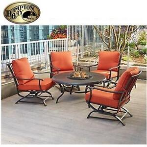 OB HAMPTON BAY 5PC FIRE PIT SET FSS60428RST 202146163 REDWOOD VALLEY SEATING RED CUSHIONS