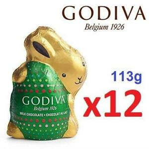 NEW 12 GODIVA MILK CHOCOLATE BUNNY 235776918 FOIL WRAPPED BOX OF 12 x 113g EXP: MAY/13/2019