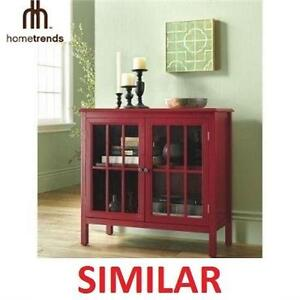 NEW HOMETRENDS GLASS DOOR CABINET - 105928383 - TEMPERED ACCENT CABINET - HOME - BATH - STORAGE - RED
