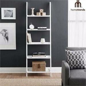 NEW HOMETRENDS 5-TIER BOOKSHELF   WHITE LEANING BOOKCASE HOME INDOOR FURNITURE SHELVING UNITS 99046556