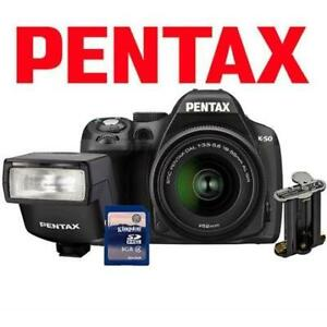 NEW PENTAX K-50 DSLR CAMERA KIT K-50 207199316 16MP 18-55MM LENS AF200 FLASH BATTERY HOLDER 16GB SD CARD DIGITAL BLAC...
