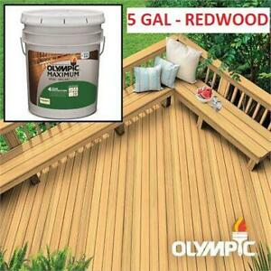 NEW OLYMPIC EXTERIOR STAIN 5GAL 57504A-05 258752977 MAXIMUM REDWOOD STAIN  SEALANT IN ONE