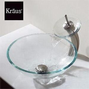 NEW* KRAUS WATERFALL FAUCET LOW-ARC VESSEL GLASS WATERFALL BATHROOM 91107680