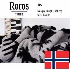 """NEW ROROSTWEED ELG BLANKET 55x86""""   ROROS TWEED GREY/BLACK BLANKET - 100%WOOL - BEDDING - THROWS - HOME DECOR  84109222"""