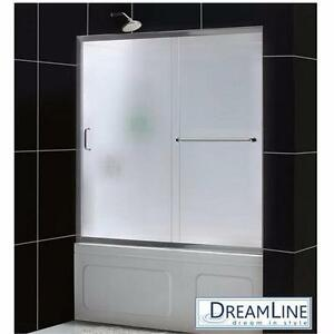 """NEW DREAMLINE SLIDING SHOWER DOORS   INFINITY Z - 56"""" TO 60"""" x 58"""" CHROME-FROSTED GLASS-SHOWER DOOR ENCLOSURE 91772590"""