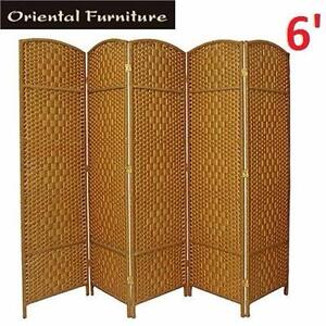 NEW OF 6' TALL SCREEN ROOM DIVIDER   ORIENTAL FURNITURE - 5 PANEL - FOLDING PRIVACY SCREEN 91584341