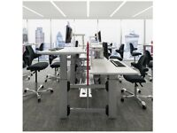 Sit-Stand Bench Desk System Silver / White (2 units available)
