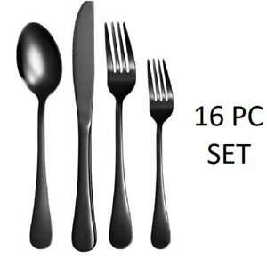 NEW- NICE KITCHEN 16-PIECE FLATWARE CUTLERY SET STAINLESS S