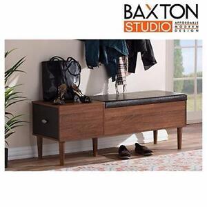 NEW BAXTON STUDIO SHOE BENCH   MERRICK MID CENTURY ENTRYWAY STORAGE BENCH - DARK BROWN  HOME FURNITURE 98739695