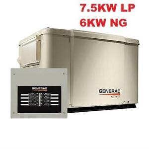 NEW GENERAC STANDBY GENERATOR 6998 211855760 7.5KW PROPANE 6KW NATURAL GAS AUTOMATIC TRANSFER SWITCH