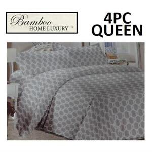 NEW BAMBOO 4PC BED SHEET SET QUEEN HAPS3500Q 224998104 HOME LUXURY 3500 THREAD COUNTS WRINKLE FREE BEDDING BEDROOM
