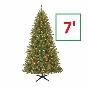 NEW HT 7 FT PRE-LIT ARTIFICIAL TREE   Holiday Time Duncan™ 7' Quick Set® Fir Christmas Tree with Clear Lights 91582722