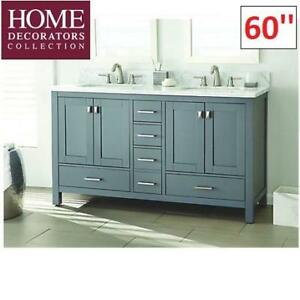 "NEW* HOME DECORATORS VANITY 60"" WSHC60RGV 219433379 FRANKLIN GREY WITH MARBLE TOP"