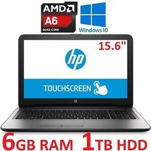 "NEW OB HP TOUCHSCREEN NOTEBOOK PC - 124306789 - 15.6"" AMD A6-7310 6GB RAM 1TB HDD WINDOWS 10 LAPTOP COMPUTER NEW OPEN..."