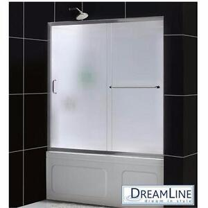 "NEW DREAMLINE SLIDING SHOWER DOORS   INFINITY Z - 56"" TO 60"" x 58"" CHROME-FROSTED GLASS-SHOWER DOOR ENCLOSURE 91772590"