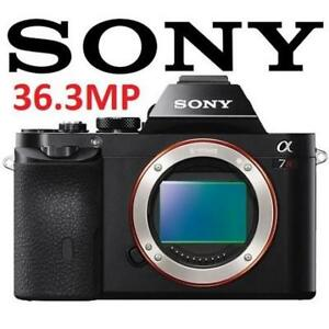 "RFB* SONY 7R DIGITAL CAMERA 36.3MP ILCE7R/B 194437583 7R INTERCHANGEABLE LENS 3"" LCD BODY ONLY REFURBISHED"
