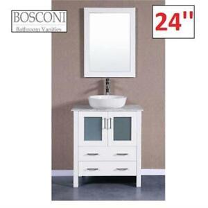 NEW BOSCONI 24 BATH VANITY SET AW124BWLPS 256664816 WHITE MIRROR BASIN CARRARA MARBLE
